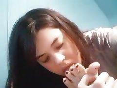 Amateur Brunette Foot Fetish Webcam