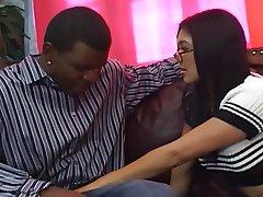 Babe Asian Blowjob Glasses Big Cock