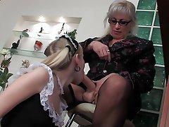 Old and Young Blonde MILF Strapon