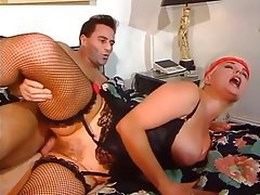 Big Boobs Hairy Stockings Threesome