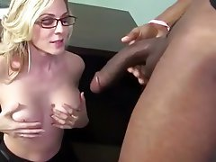 Blonde Blowjob Interracial MILF